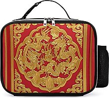 Lunch Bag Wood Carved On Red Door Chinese Style