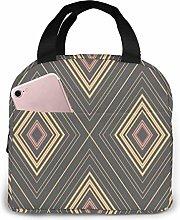 Lunch Bag Yellow Rhombus Folklore Aztec Tote Bag