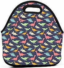 Lunch Bags,Gray Blue T Rex Stegosaurus Dinosaurs