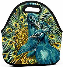 Lunch Bags,Peacock Art Lunch Organizer Washable