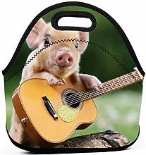 Lunch Bags,Pig Playing Guitar Graphic Funny Lunch