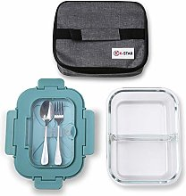 Lunch Box Glass 2 Compartment With Insulated Carry