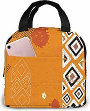 Lunch Box Tribal Bold Lines Geometric Orange 3D