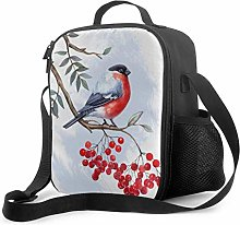 Lunch Cooler Bag Birds with Bullfinch Red Berry