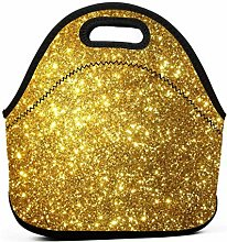 Lunch Cooler Bag,Gold Background Lunch Tote Box