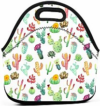Lunch Tote Bag,Colorful Vibrant Cactus Lunch Bags