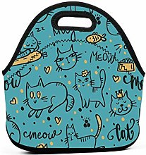 Lunch Tote Bag,Cute Leisurely Cats Kitten Lunch