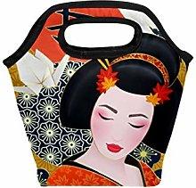 Lunch Tote Bag Japanese Geisha Crane Cherry