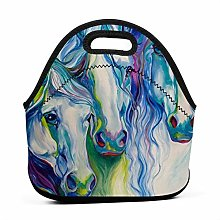 Lunch Tote Box Cool Bag,Abstract Watercolor Horse
