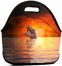 Lunch Tote Box Cool Bag,Sunset Dolphins Cooler