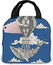Lunch Tote Whale Riding Hot Air Balloon with Front