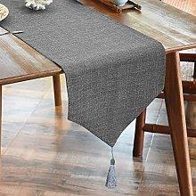 Luoluo linen look table runner fringe table runner