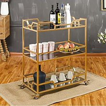 LuoMei Bar Cart Serving Rolling Trolley Household