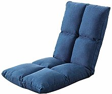 LuoMei Blue Linen Small Sofa Simple Recliner Lazy