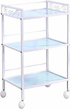 LuoMei Kitchen Storage Trolley Serving Cart Glass