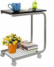 LuoMei Nordic Bedside Table Movable Desk Cart