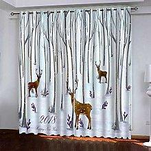 LUOWAN Curtains For Bedroom 45.6X71Inch Drop Elk
