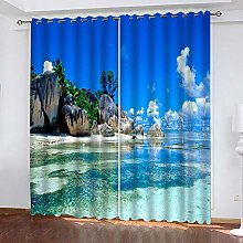LUOWAN Curtains For Bedroom Eyelet 45.6X71Inch
