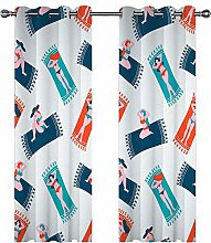 LUOWAN Curtains For Girls Bedroom 45.6X90Inch Drop