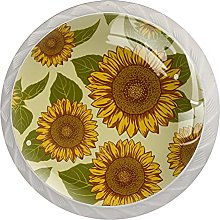 LUPIN 4 Pack Cabinet Knobs Yellow Sunflowers with