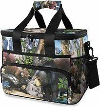LUPINZ Tote Cooler Bag Cool Black Bears Art Picnic