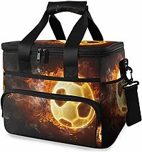 LUPINZ Tote Cooler Bag Cool Fire Flames Soccer