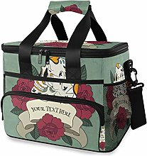 LUPINZ Tote Cooler Bag Cool Red Roses and Skull