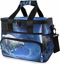 LUPINZ Tote Cooler Bag Cool Wolf Watching Galaxy