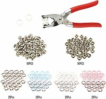 Lurrose 200pcs Snap Fasteners Metal Ring Button