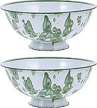 Lurrose 2pcs Vintage Enamel Bowls Salad Bowls