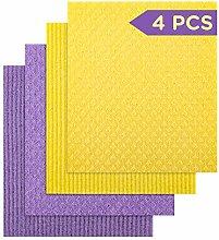 LUTER 4pcs Swedish Dishcloth Cellulose Sponge Set