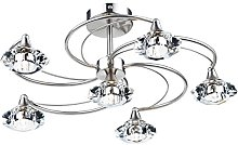 Luther 6 Light Semi Flush Complete With Crystal