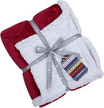 Lux Sherpa Throw (127x152cm) (Red) - Riva Home