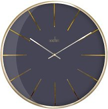 Luxe 40cm Dark Marble & Domed Wall Clock Acctim