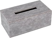 Luxe - Faux Leather Tissue Box - Grey Croc