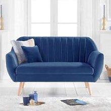Luxen Velvet Upholstered 2 Seater Sofa In Blue