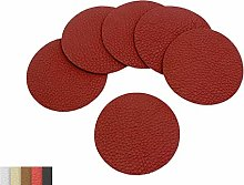 Luxflair Set of 6 Noble Leather Coasters, Coral