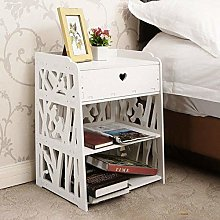 Luxury Bed Side Table Wood White Drawers Bedside