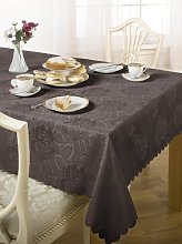 Luxury Damask Rose Tablecloth Chocolate 52x70