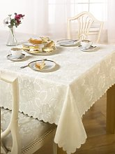 Luxury Damask Rose Tablecloth Cream 70x108 ""