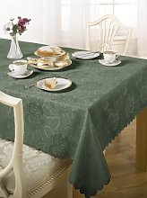 Luxury Damask Rose Tablecloth Dark Green