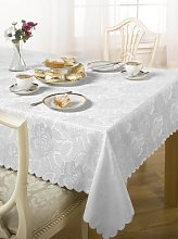 Luxury Damask Rose Tablecloth White 52x70 ""