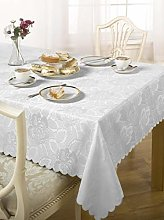 Luxury Damask Rose Tablecloth White 60x84 ""