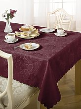 Luxury Damask Rose Tablecloth Wine 60x84 ""
