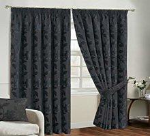 Luxury Jacquard Chenille Curtain Pair Pencil Pleat