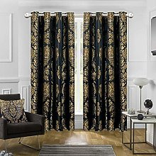 Luxury Jacquard Curtains Pair Fully Lined Ring Top