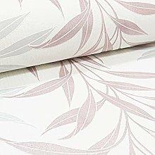 Luxury Leaf Floral Glitter Textured Vinyl White