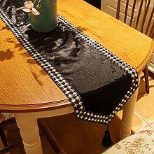 Luxury Table Runner,Black and White Diamond Buckle