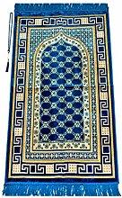Luxury Velvet Muslim Prayer Rug with Prayer Beads