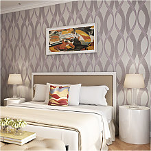 Luxury Wallpaper Nonwoven 10M Curve Wave Flocking